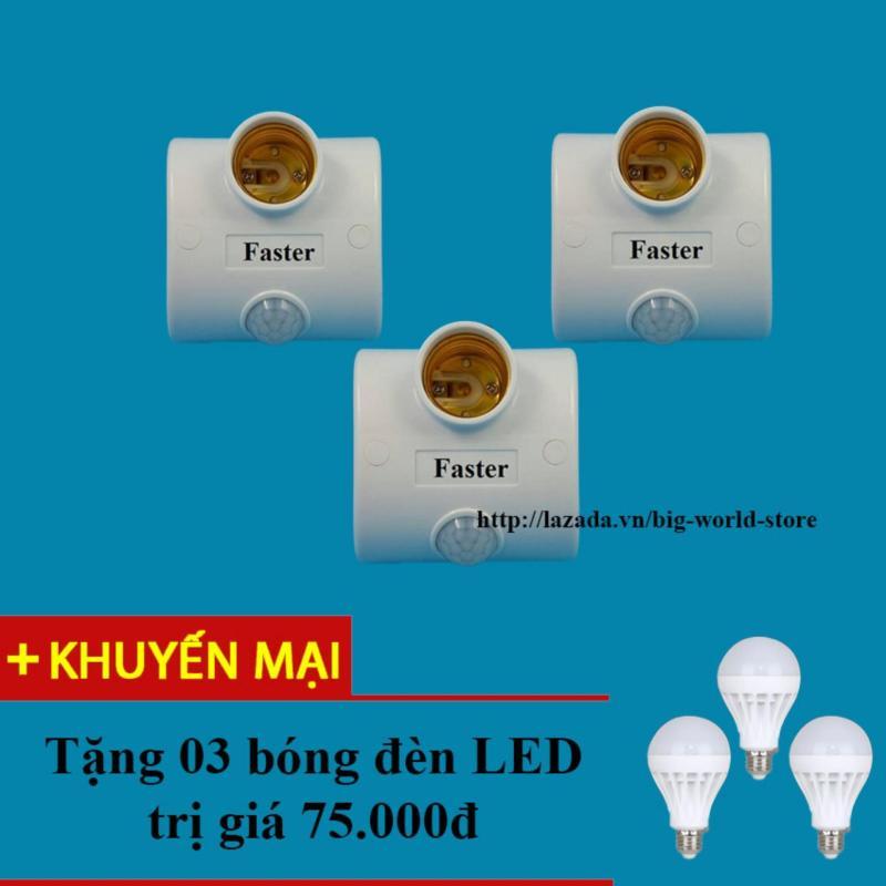 Bảng giá Mua Đui đèn cảm ứng hồng ngoại Faster 3 chiếc (Trắng) + Tặng bóng đèn LED
