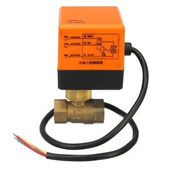 Electrical Motorized Ball Valve DN15/DN20 220V 2 Way 3 Wire BrassCopper 4W - intl