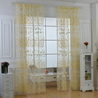Fashion Flower Chiffon Curtains for Living Room the Bedroom Sheer Curtains Tulle Window Curtains Fabric Drapes - Yellow - intl