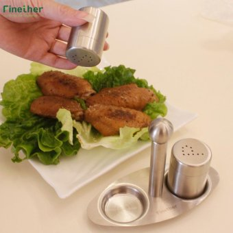 Finether Salt Pepper Shaker Set Stainless Steel with Stand - intl
