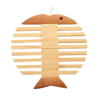 Fishbone Shaped Coaster Heat Insulated Pad Bamboo Mat Placemat Tablemat - intl