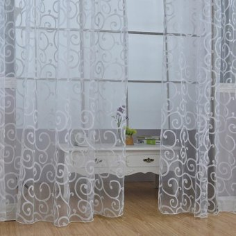 Floral Divider Totem Curtain Window Sheer Valance Voile Door RoomDrape - intl