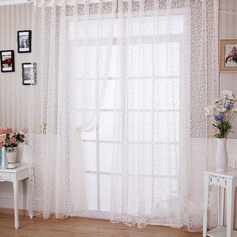 Floral Tulle Voile Door Window Curtain White - intl