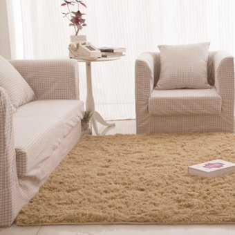 Fluffy Rugs Anti-Skid Shaggy Area Floor Mat Camel - intl