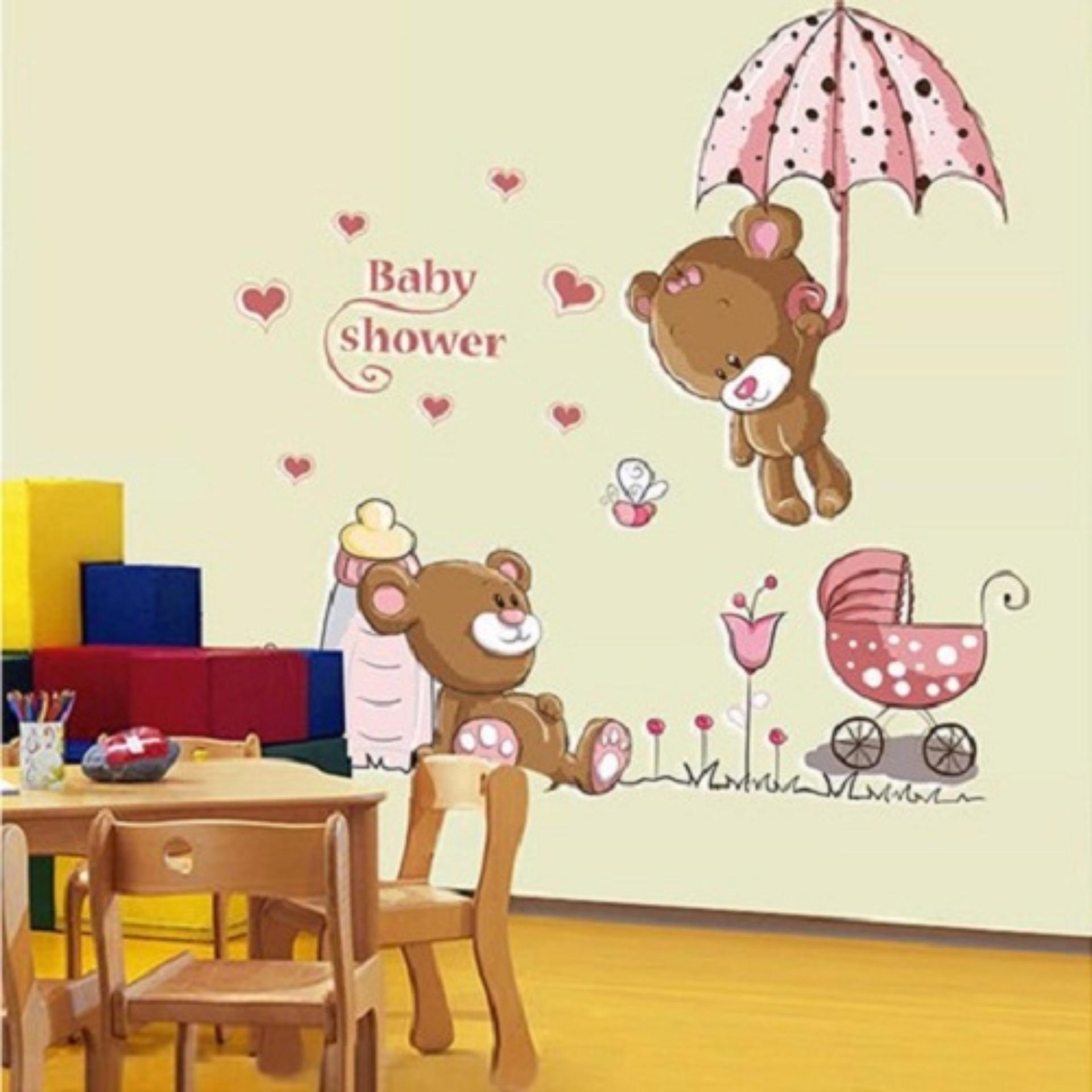 Giấy Decal dán tường gấu hồng