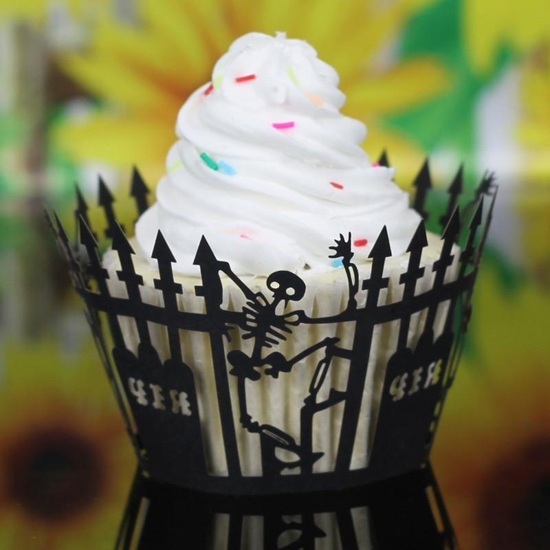 Hình ảnh Halloween Pumpkin Lace Laser Cut Cupcake Wrapper Liner Baking Cup Muffin - intl