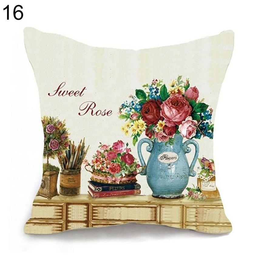 HappyLife Retro Home Decorative Linen Cotton Blended Crown Throw Pillow Case - intl