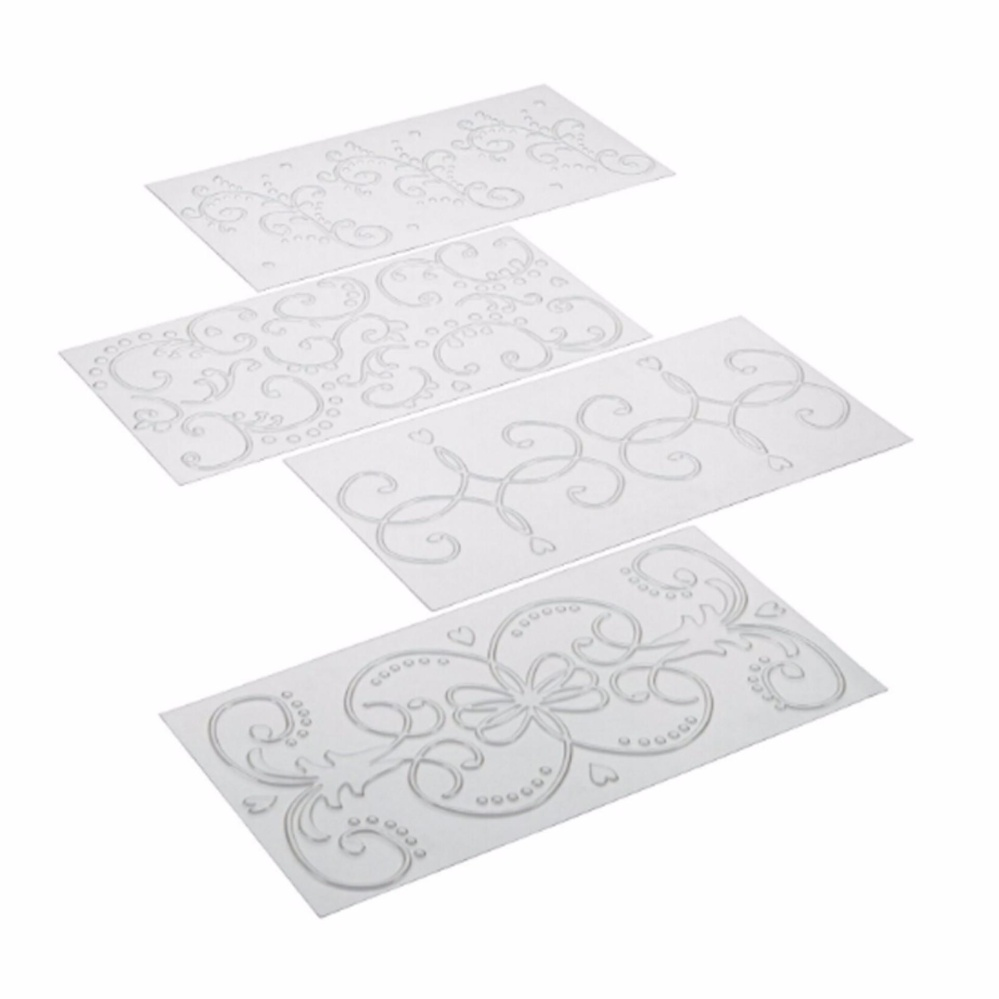 HengSong Decorating Tools 4-Piece Fondant Imprint Mat Set (Classic)- intl