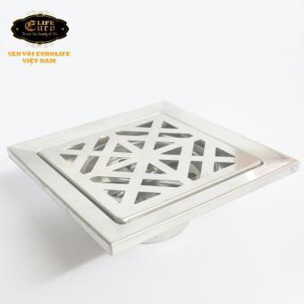 Hố ga thoát sàn Inox 15X15cm Eurolife EL-X33 ( Trắng bạc