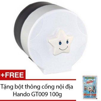 Hộp đựng giấy vệ sinh gắn tường bằng nhựa cỡ nhỏ GT312 (Trắng) +Tặng bột thông cống nội địa Hando GT009 100g
