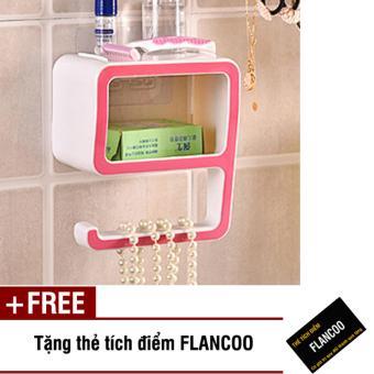 Kệ dán tường nhà tắm Flancoo 2941 (Hồng) + Tặng kèm thẻ tích điểm Flancoo