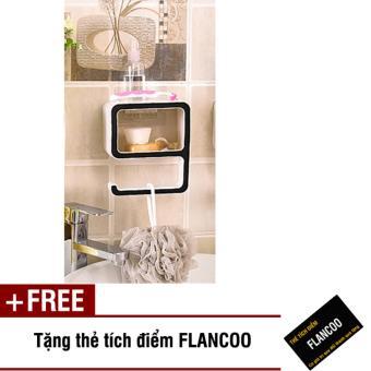 Kệ dán tường nhà tắm Flancoo 2944 (Đen) + Tặng kèm thẻ tích điểmFlancoo