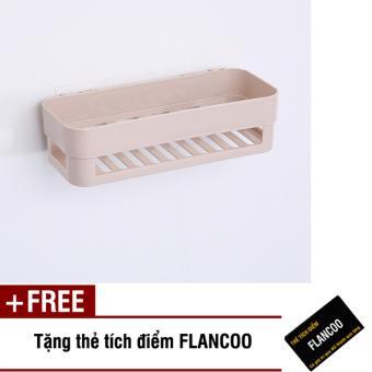 Kệ nhà tắm dán tường chắc chắn S0013 (Kem) + Tặng kèm thẻ tích điểmFlancoo