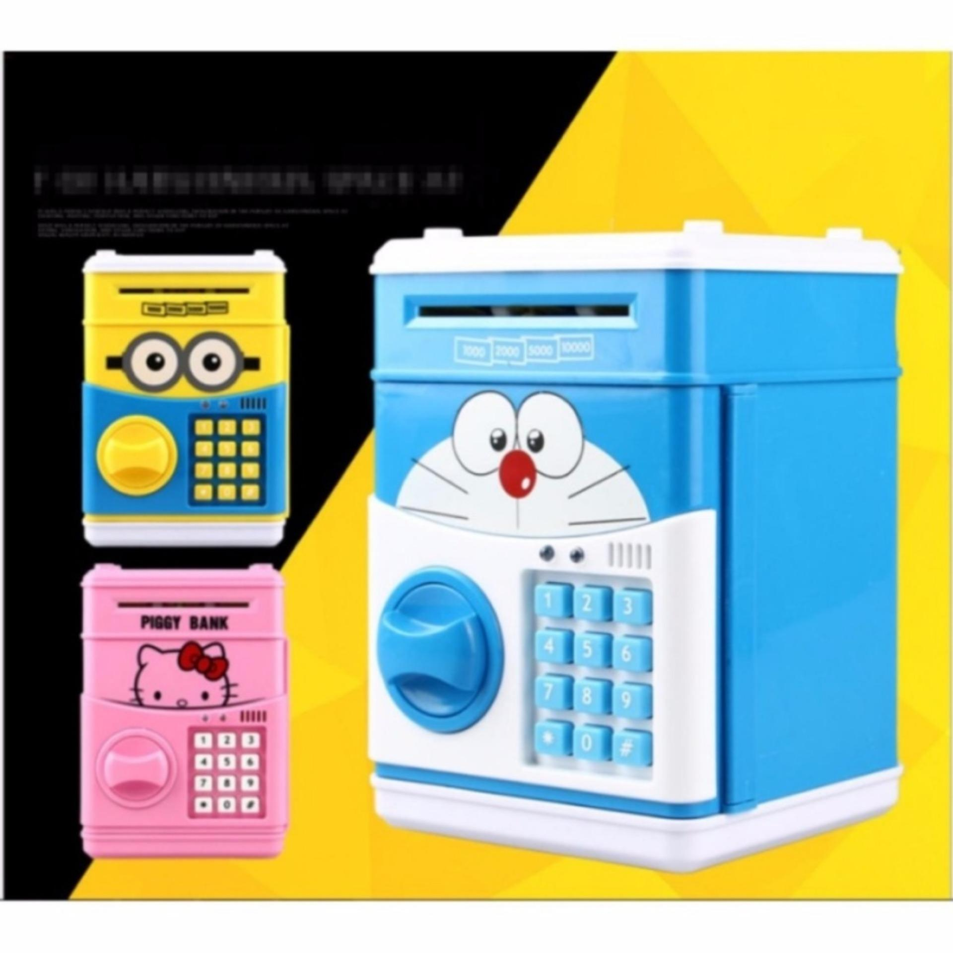 Két nhựa mini thông minh món quà cho bé tiết kiệm Doremon (Màu xanh và hồng)