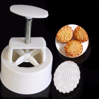 Khuôn làm bánh trung thu lò xo 6 mẫu tròn (Trắng)