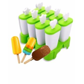 Khuôn Làm Kem Bằng Nhựa 8 Que Tiện Lợi (Xanh cốm)