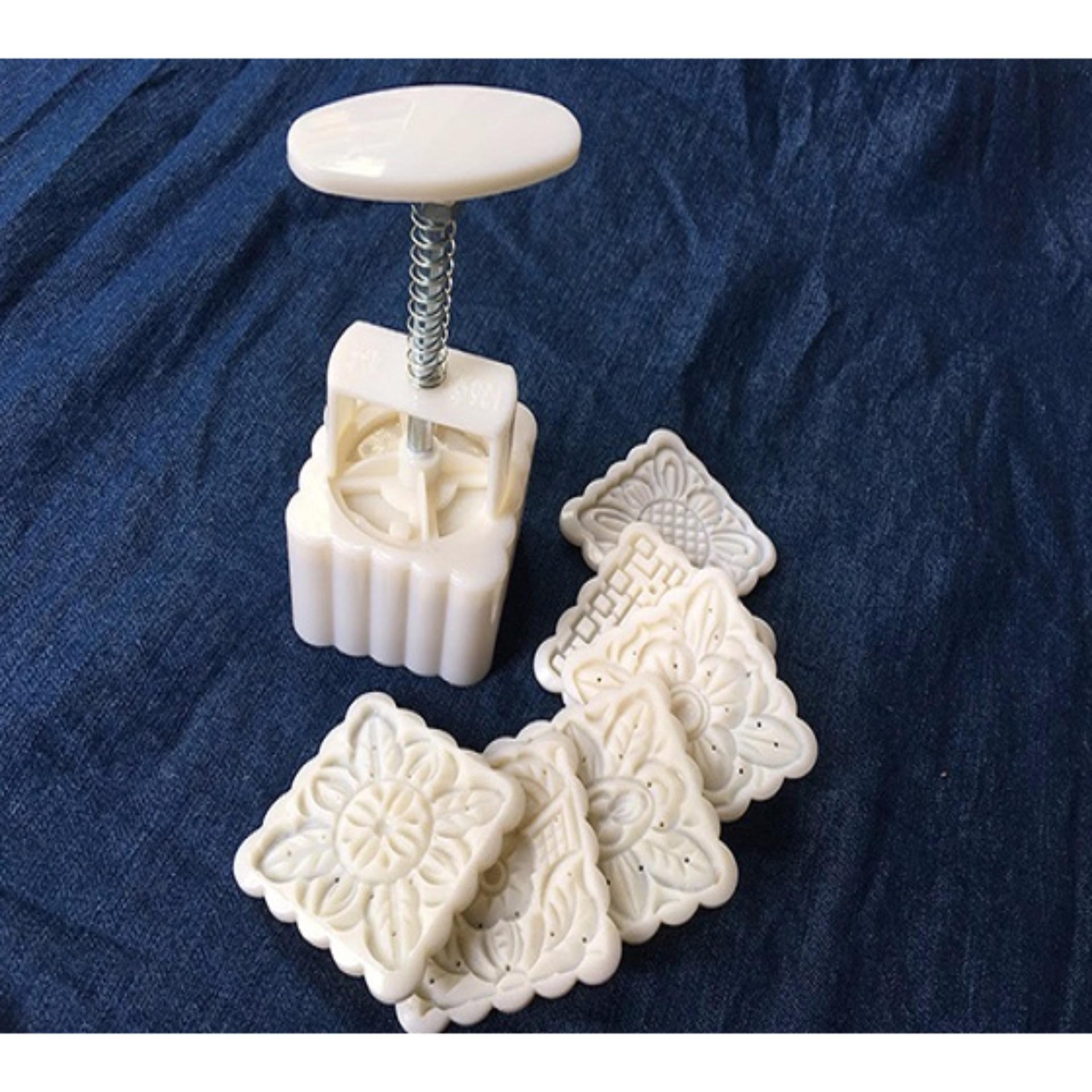 Khuôn nhựa làm bánh trung thu 6 mẫu vuông 100g (Trắng)