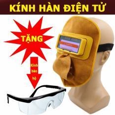 Kính hàn điện tử mặt nạ da + Tặng kính bảo hộ và dây đeo