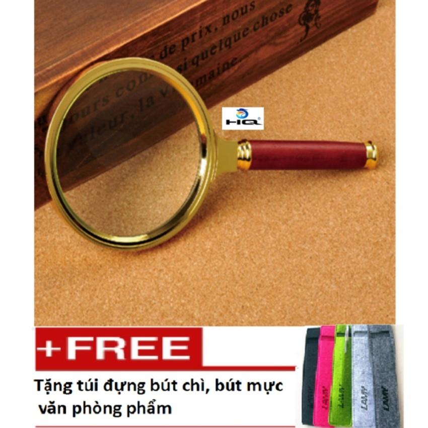 Kính lúp 3D khung kim loại 90mm cho trường học và văn phòng 0TI42 tặng túi đựng bút chì, bút...