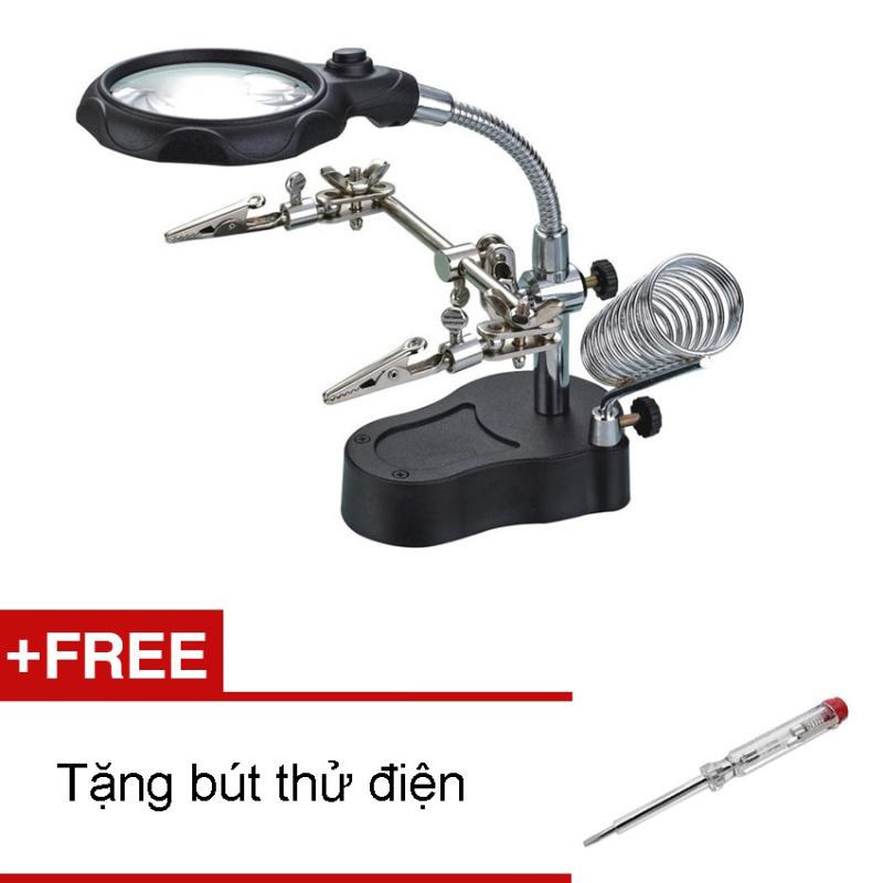 Bảng giá Mua Kính lúp kẹp soi hàn mạch điện tử có đèn led (Đen) + Tặng bút thử điện