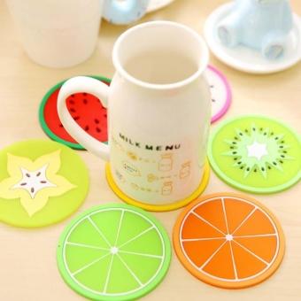 Kuhong 2pc Silicone Cup Pad Novelty Fruit Shape Mat InsulationCoaster(Kiwi) - intl