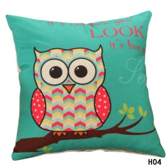 Kuhong Cute Owl Printing Pillowcase Cushion Cover Cotton and LinenPillowcase Sofa Bed Office Decor H04 - intl
