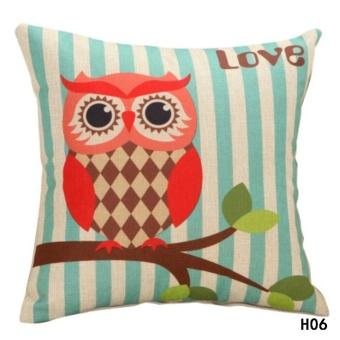 Kuhong Cute Owl Printing Pillowcase Cushion Cover Cotton and LinenPillowcase Sofa Bed Office Decor H06 - intl