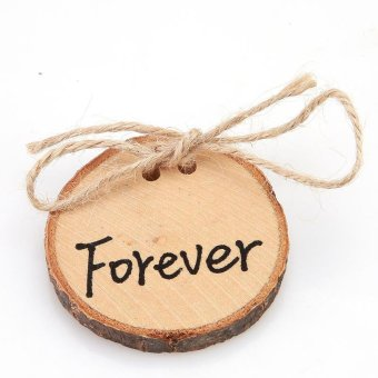 "LALANG 1pc ""Forever"" Rustic Ring Pillow Round Wood Slice Ring Holder Wedding Decor - intl"