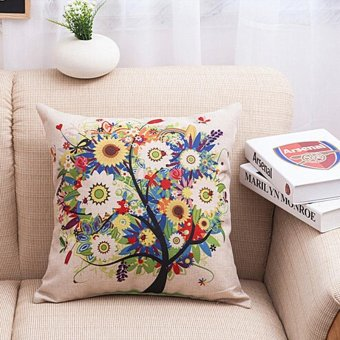 LALANG MultiColor Tree Leaves Cotton Cushion Pillow Cover Case