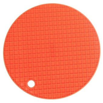 LALANG Silicone Waterproof Non-slip Round Mat Pad Placemat Orange