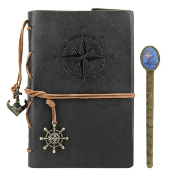 Leather Writing Journal with Removable Page A5 Vintage Nautical Diary Embossed Anchor Notebook with Book Ruler - intl