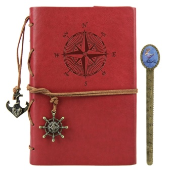 Leather Writing Journal with Removable Page A6 Vintage NauticalDiary Embossed Anchor Notebook with Book Ruler - intl