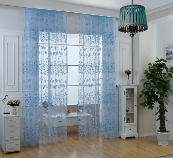 Living Room Fashion Flower Chiffon Curtains the Bedroom Sheer Tulle Fabric Drapes Curtains - Blue