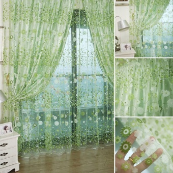 Living Room Fashion Flower Chiffon Curtains the Bedroom Sheer Tulle Fabric Drapes Curtains - Green
