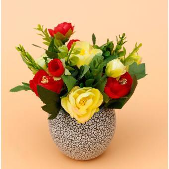 Lọ hoa hồng 10 bông nghệ thuật để bàn xinh xắn