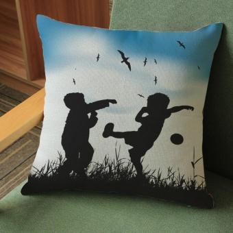 Lovers Painting Linen Cushion Cover Throw Waist Pillow Case Sofa Home Decor C - intl
