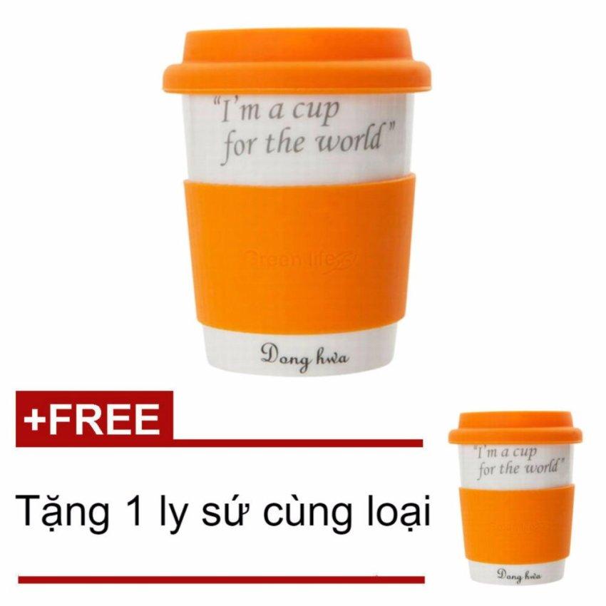 Hình ảnh Ly sứ cao cấp Dong Hwa ECO PASTEL 280ml ECC004 (Cam) + Tặng 1 ly sứ cao cấp Dong Hwa cùng loại