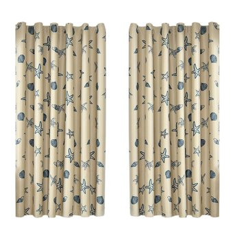 Marine Biological Printing Cloth Balcony Bedroom Curtain Shade -intl