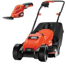 Máy cắt cỏ xe đẩy EMAX32GSL2-B1 và phụ kiện tỉa lá chạy pin.