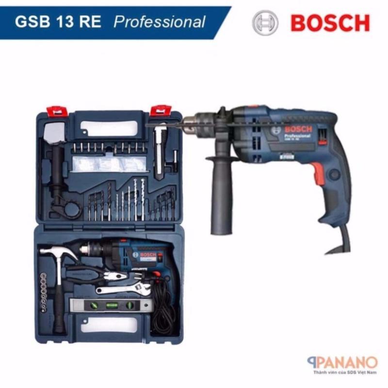 Máy khoan Bosch GSB 13 RE Set (Tặng kèm bộ dụng cụ 100 chi tiết) (Xanh đen) - Hãng phân phối chính thức