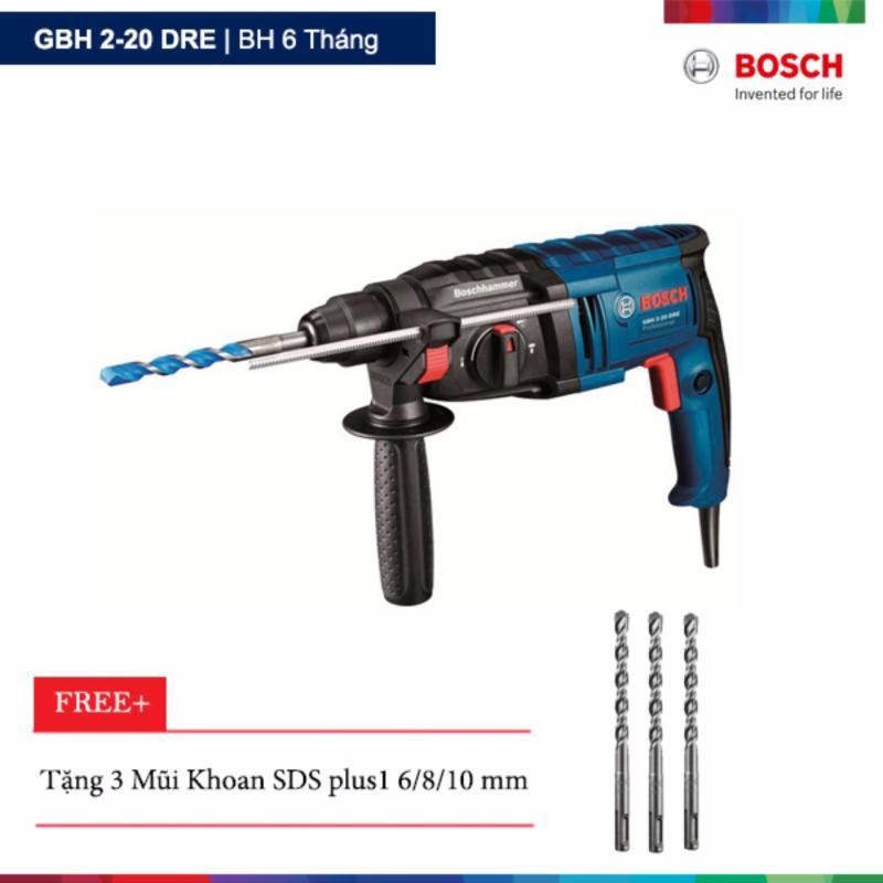 Máy khoan búa Bosch GBH 2-20 DRE Tặng 3 Mũi Khoan SDS plus1 6/8/10 mm