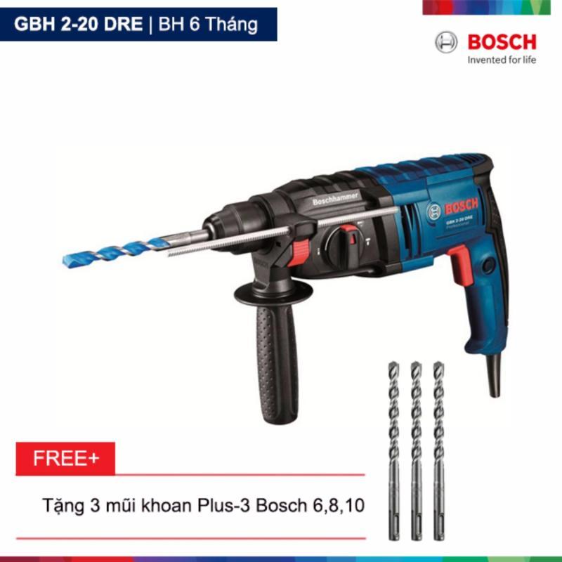 Máy khoan búa Bosch GBH 2-20 DRE Tặng kèm 3 mũi khoan Plus-3 Bosch 6,8,10