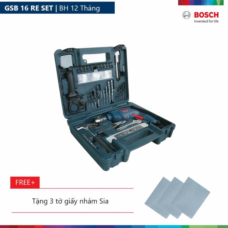 Máy khoan động lực Bosch GSB 16 RE SET Tặng 3 tờ giấy nhám Sia