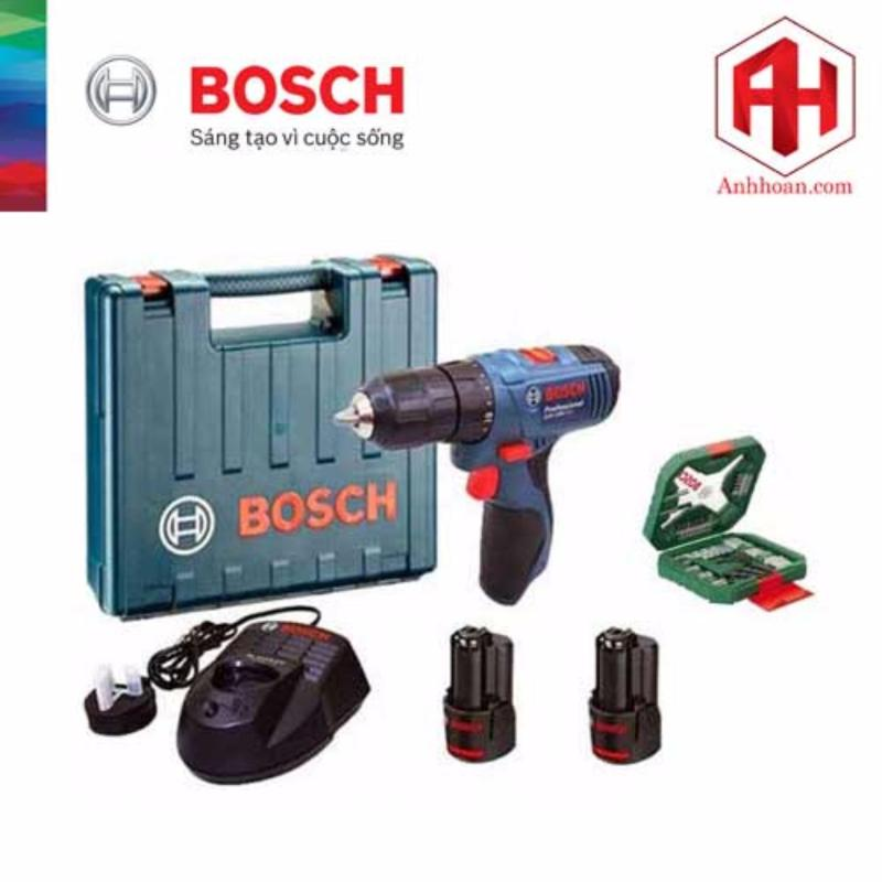 Máy khoan dùng pin Bosch GSB 120-LI tặng bộ Xline 34 chi tiết