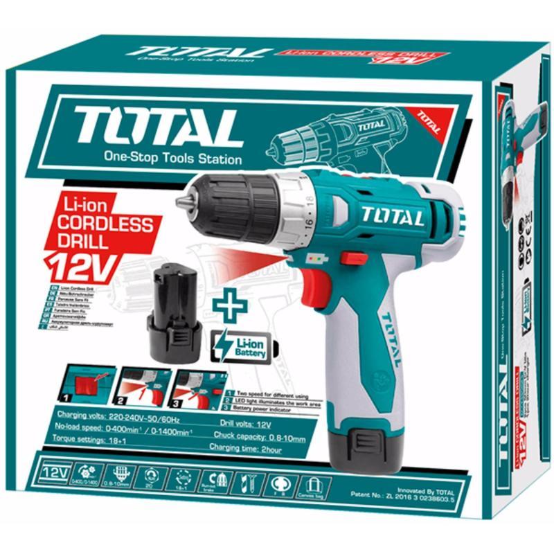 Máy khoan pin cầm tay 12V Total TDLI228120-1 (tặng kèm 2 mũi khoan)