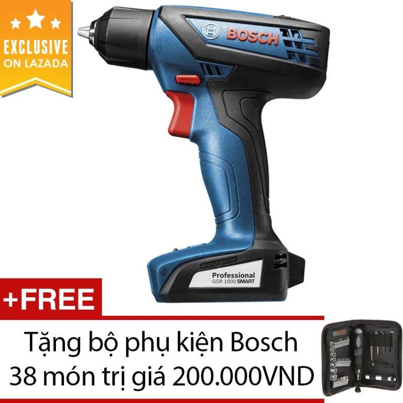 Máy khoan vặn vít Bosch GSR 1000 (Xanh đen) + Tặng bộ phụkiệnBosch38 món