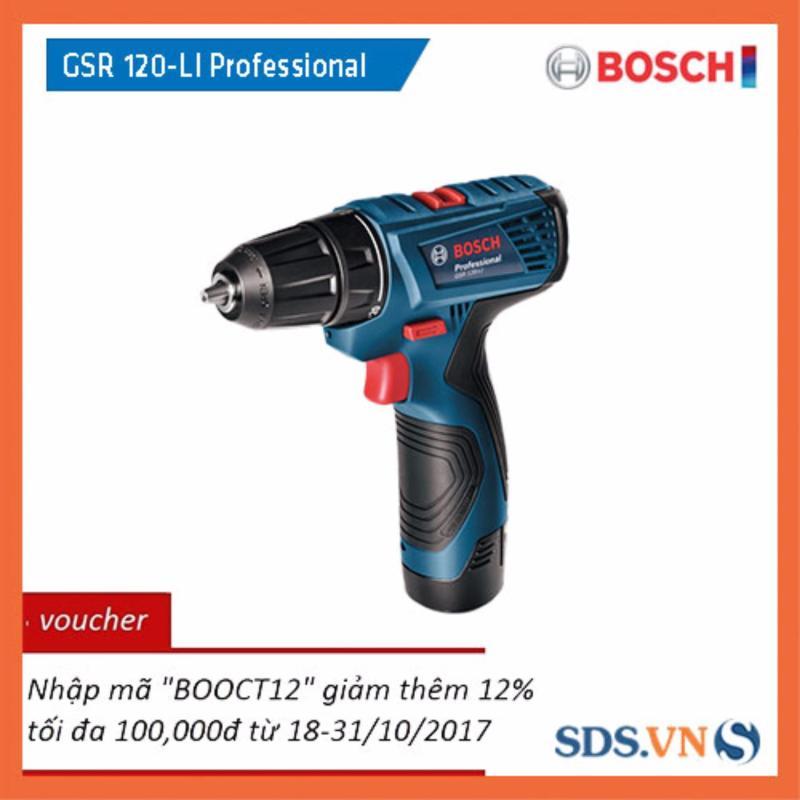 Máy khoan vặn vít dùng pin Bosch GSR 120-LI Professional (Xanh)