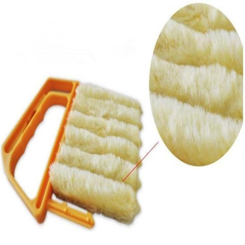 Microfibre Venetian Blind Brush Window Air Conditioner Duster Dirtclean Cleaner Yellow - intl .