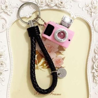 Móc khóa Máy Ảnh Led Hồng Có Dây Đen, Móc khóa túi xách, phụ kiện, quà tặng