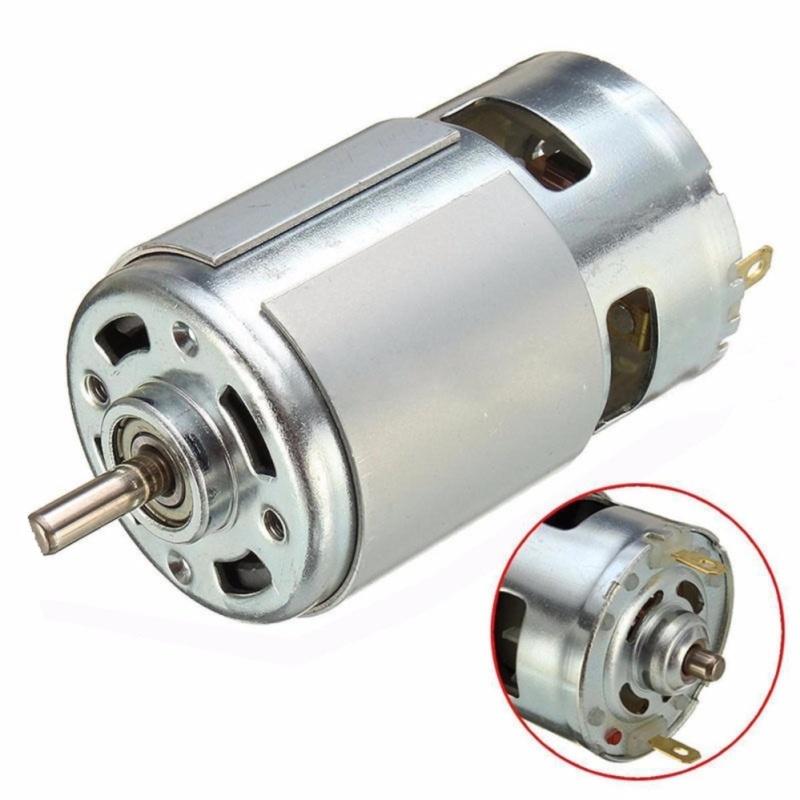 """Motor 775 loại đặc biệt có bạc đạn và quạt tản nhiệt, trục vát chữ """"D"""", 12~24V, chế khoan điện đa năng cực mạnh"""